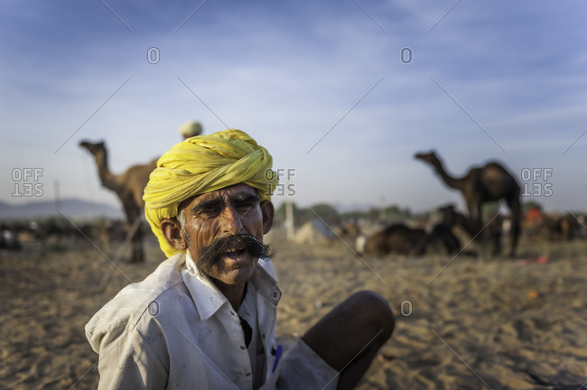 Rajasthan, India - November 18, 2015: Portrait of an elderly man at the Pushkar Camel Fair, India