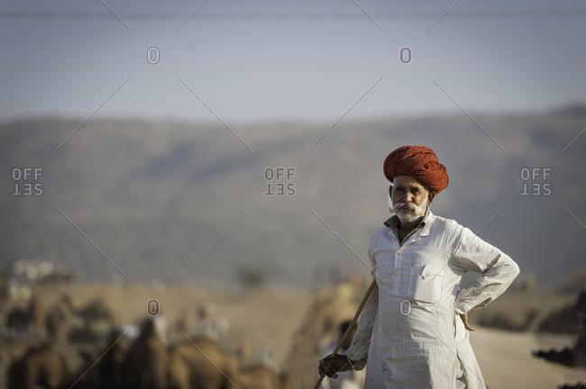Rajasthan, India - November 19, 2015: Portrait of an old Indian man at the Pushkar Camel Fair, India
