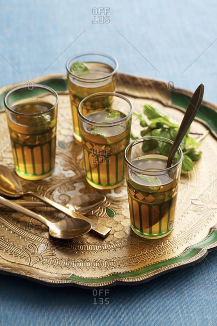 Tray of glasses of mint tea