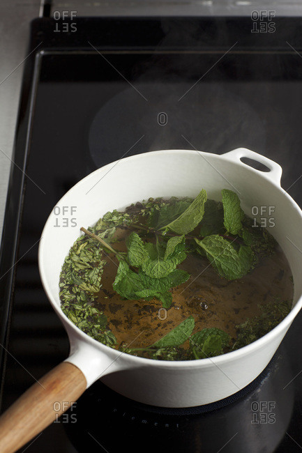 Boiling mint leaves and water for tea