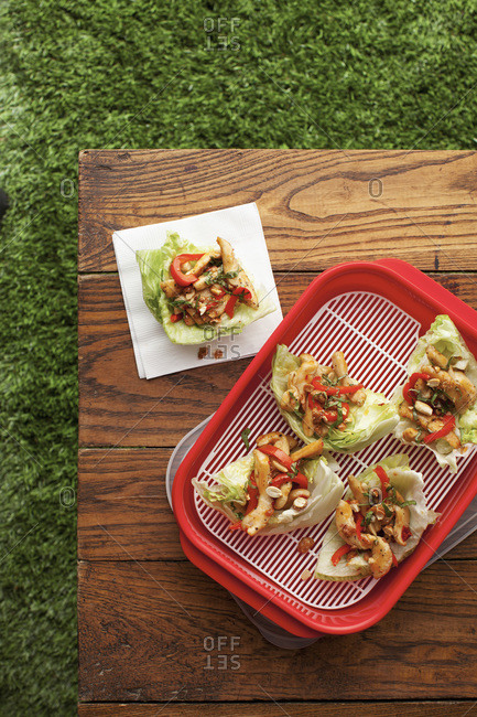 Thai lettuce wraps with chicken, peppers, and peanut sauce on picnic table