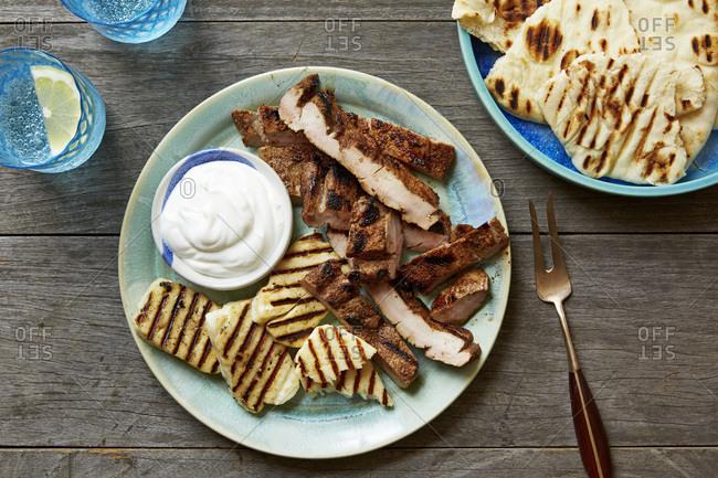 Grilled Moroccan spiced pork tenderloin and pita