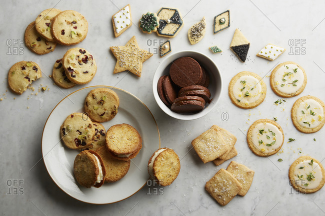 Overhead view of assortment of holiday cookies