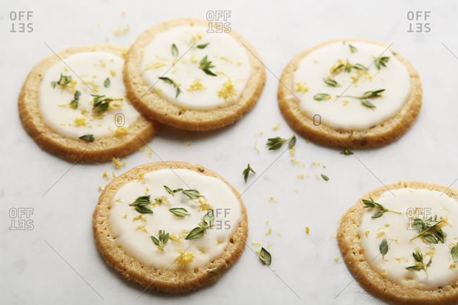 Shortbread cookies with citrus glaze and thyme
