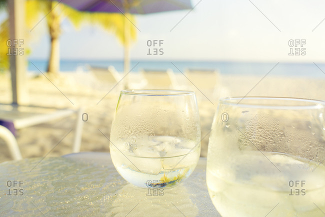 Cold drinks on beach table