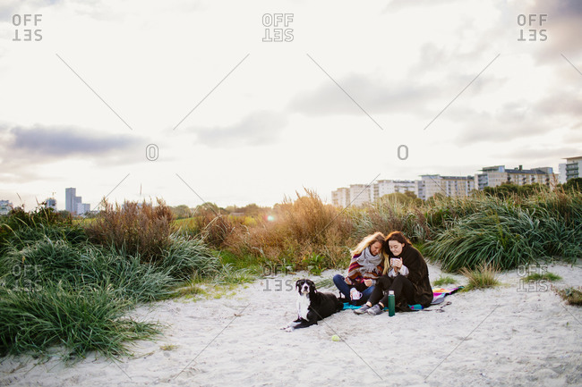 Women sitting with dogs and mugs on beach