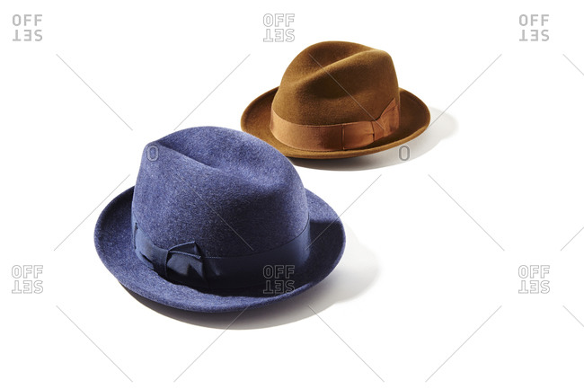 Blue and brown menswear hats