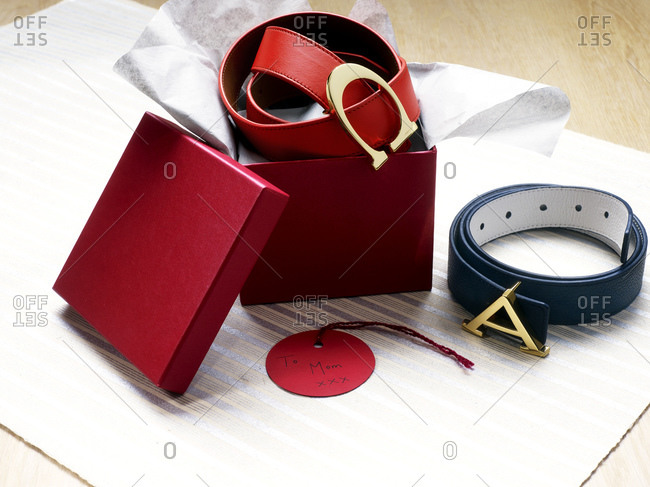 Monogrammed belts as gifts
