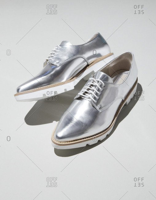 Shiny silver men's shoes