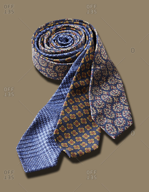 Menswear ties with different patterns