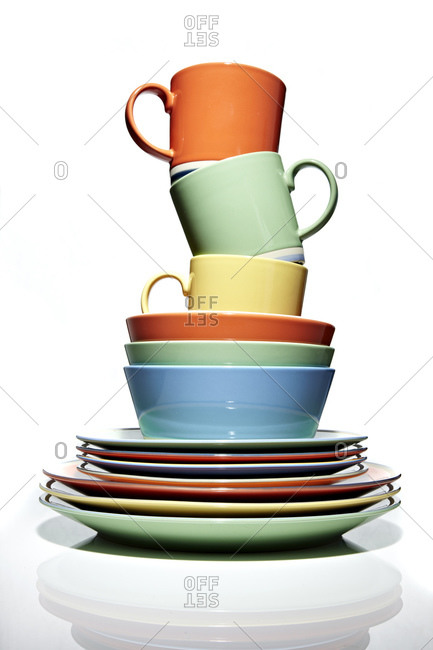Stack of colorful dinnerware
