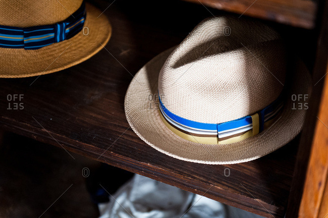 Close-up of Panama hats