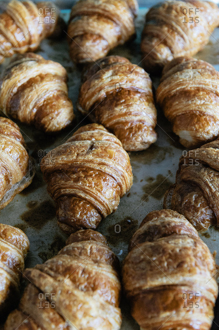 Close-up of freshly baked croissants