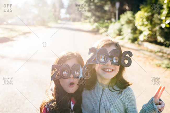Two girls celebrating the new year