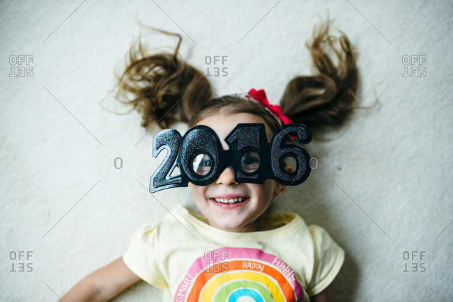 Little girl celebrating the new year