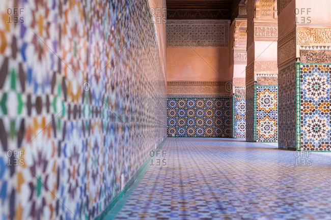 Tile work at Ben Youssef Madrasa in Marrakech, Morocco