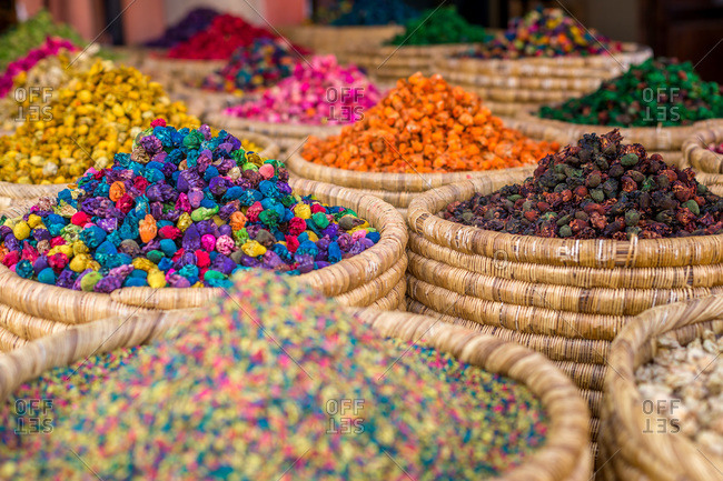 Colorful spices displayed at a market, Marrakech, Morocco