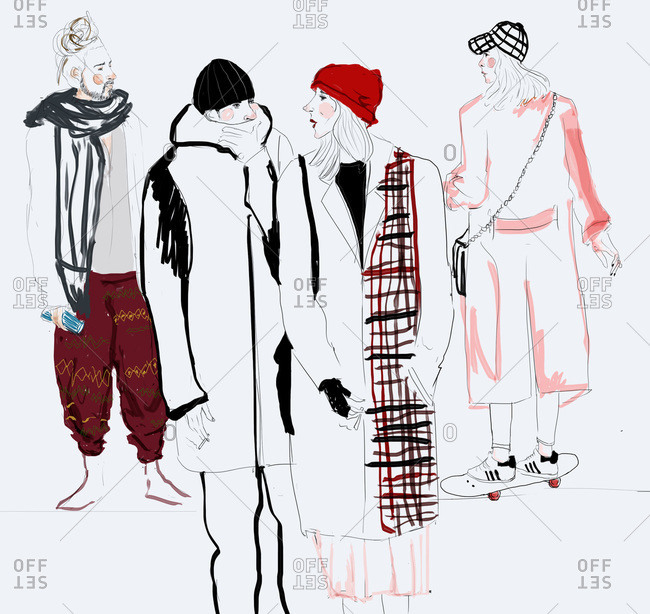 Fashion illustration of people dressed in winter clothes