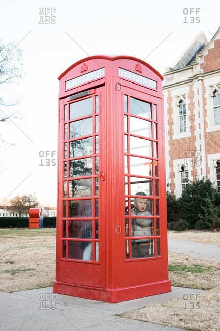 Children in a British phone booth at the University of Oklahoma
