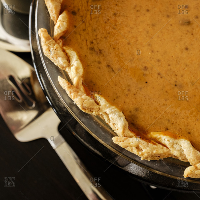 Close-up of pumpkin pie for Thanksgiving