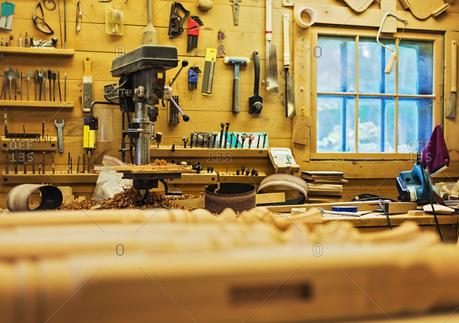 Carpentry workbench with tools
