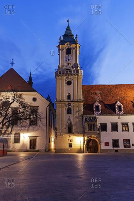 Illuminated town hall at dusk, Bratislava, Slovakia