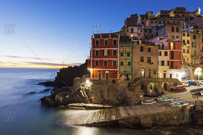 Coastal town at night, Riomaggiore, Liguria