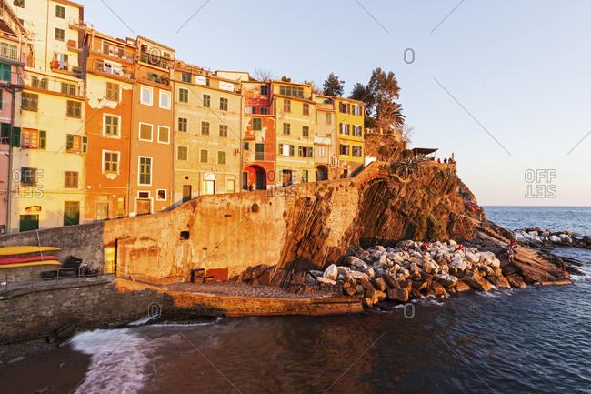 Coastal town at sunset, Riomaggiore, Liguria
