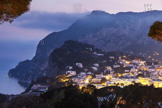 Town at dusk, Capri