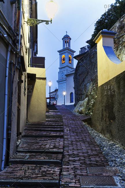 St Antonio Church at end of alley, Genoa