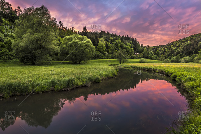 Sunset above the Aufsess-Valley in Franconian Switzerland