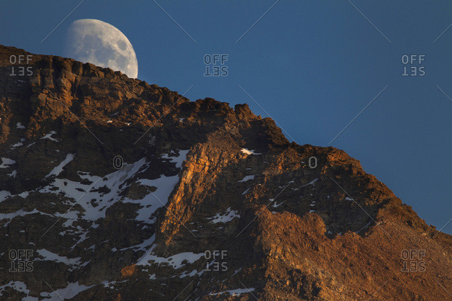 Moon rising over Yoho National Park, Canada From Lake McArthur