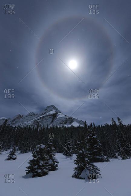 Moonbow over Lake O'Hara and surrounding mountains, Yoho National Park, Canada