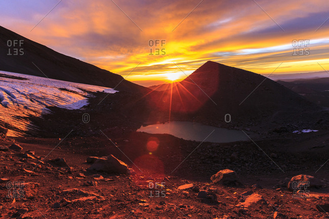 Sun rising over basecamp  on South Sister