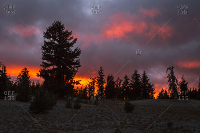 Sunset on the way up South Sister in Oregon's Cascade Range