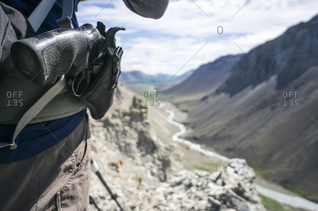 Close up of a hiker's side arm