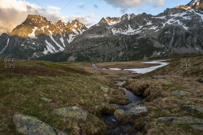 Creek in a mountain landscape in Devero National Park, Piemonte, Italy