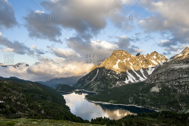 Lake in a mountain landscape in Devero National Park, Piemonte, Italy