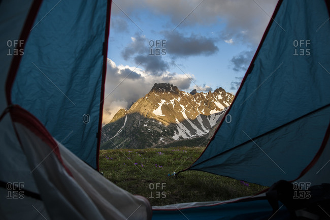 View of mountains from a tent Devero National Park, Piemonte, Italy