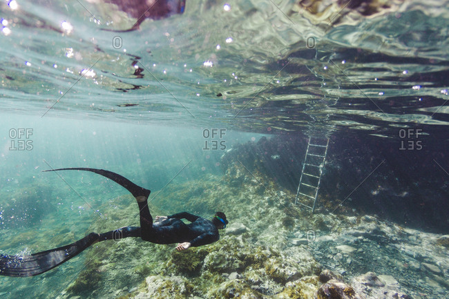 Man snorkeling in clear waters