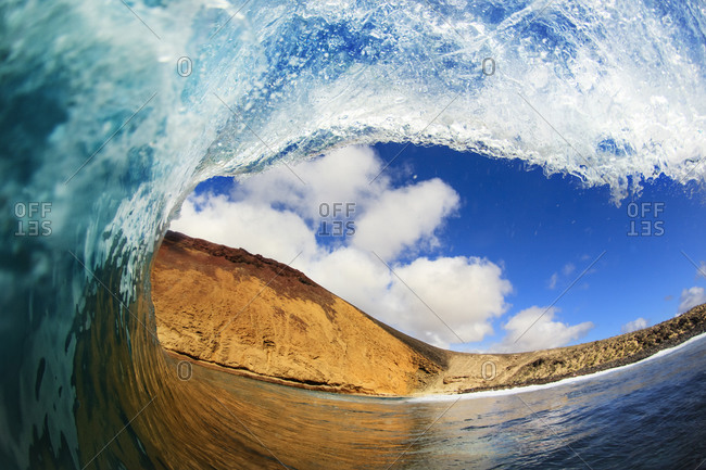 Inside out view of the barrel of a wave