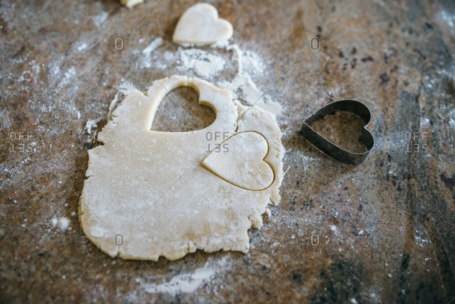 Making Valentine cookies