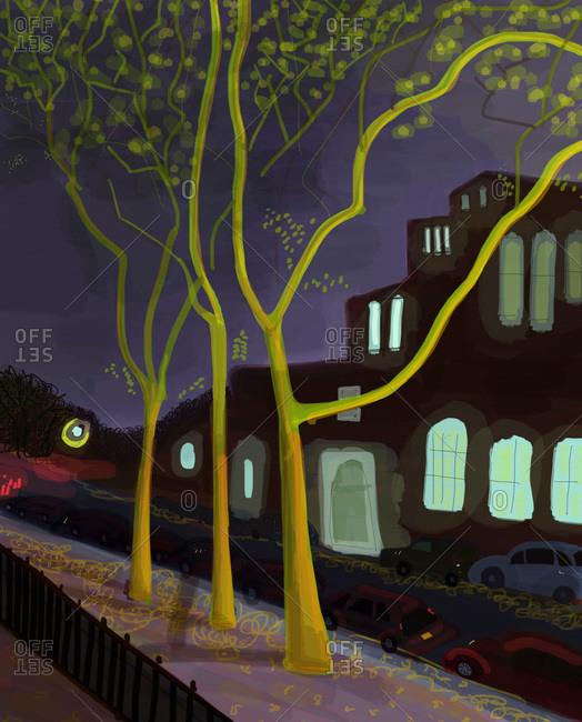 Street at night in Brooklyn, NY