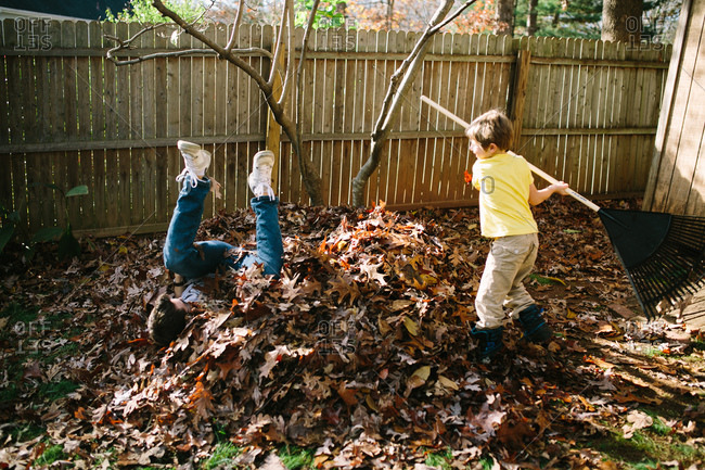 Father and son playing in a leaf pile in the fall