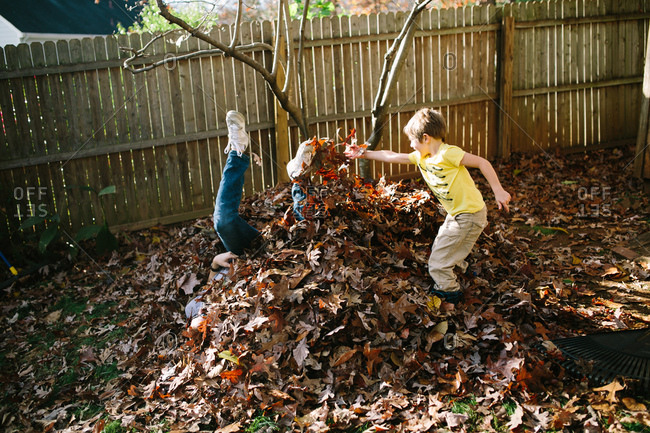 Father and son having fun in a leaf pile in the fall