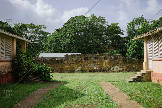 Officers cabins of the abandoned penal colony on Devil's Island in French Guiana