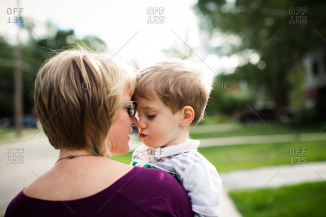 Mother and son sharing a tender moment