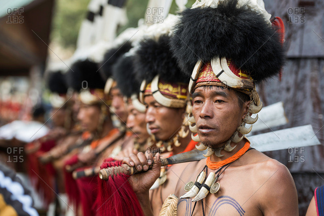 Nagaland, India - December 9, 2015: Portrait of Naga tribesmen in traditional Naga costume at festival in India