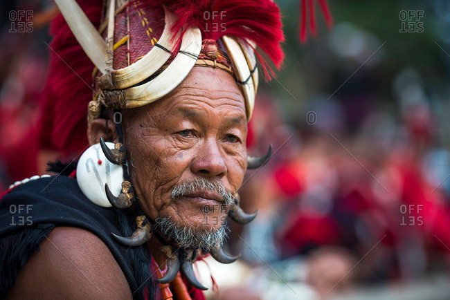 Nagaland, India - December 9, 2015: Portrait of an elderly Naga tribesman at festival in India