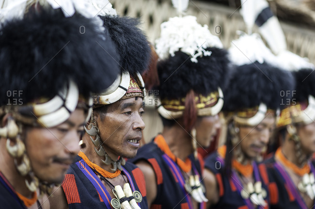 Nagaland, India - December 10, 2015: Naga men in traditional headdresses at festival in India